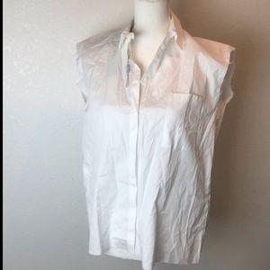 Uterque White Sleeveless RawHem Band Collar Blouse